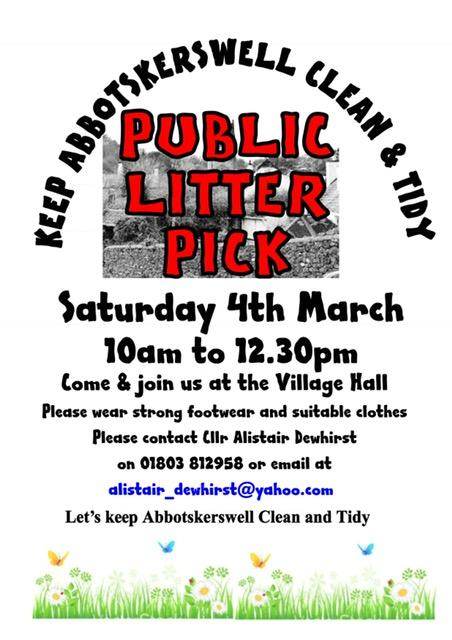Abbotskerswell Litter Pick Poster 2017
